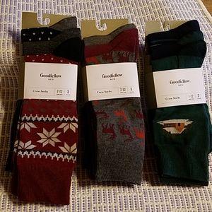 3 Packs Goodfellow & Co Men's Crew Socks Size 7-12